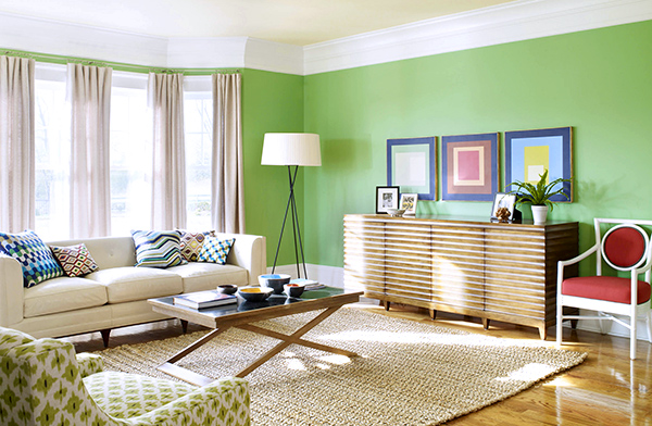 Fresh-green-living-room-with-simple-furniture