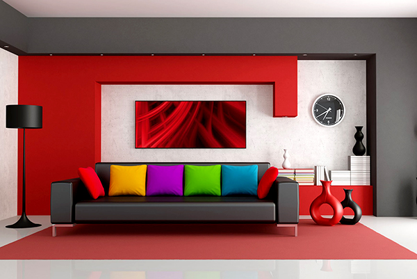 Red-and-black-living-room-paint-color-ideas-with-multi-color-furniture