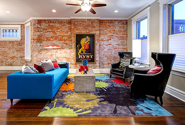 Fantastic Living Room Design Colorful Furniture Exposed Brick Wa