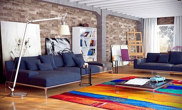 Stunning-Apartment-Contemporary-Living-Rooms-Colorful-Carpet-Grey-Sofa