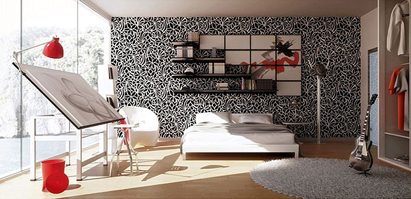 trendy-black-white-red-bedroom-art-studio-designed-by-dqart