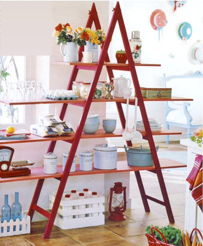 diy-ladder-shelf-ideas-kitchen-storage-tableware