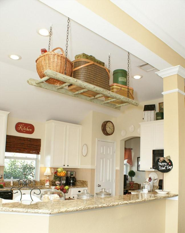 diy-ladder-shelf-kitchen-suspended-ceiling-storage-small-kitchen