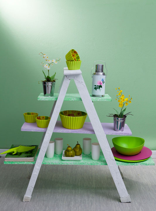 diy-ladder-shelf-painted-green-kitchen-storage