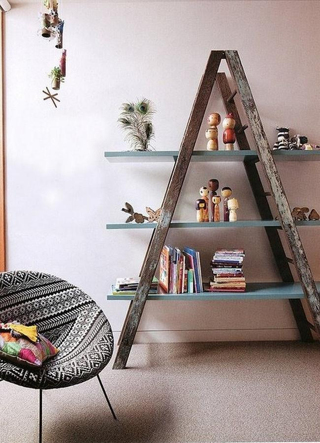 diy-shelf-ideas-home-rustic-wooden-ladder