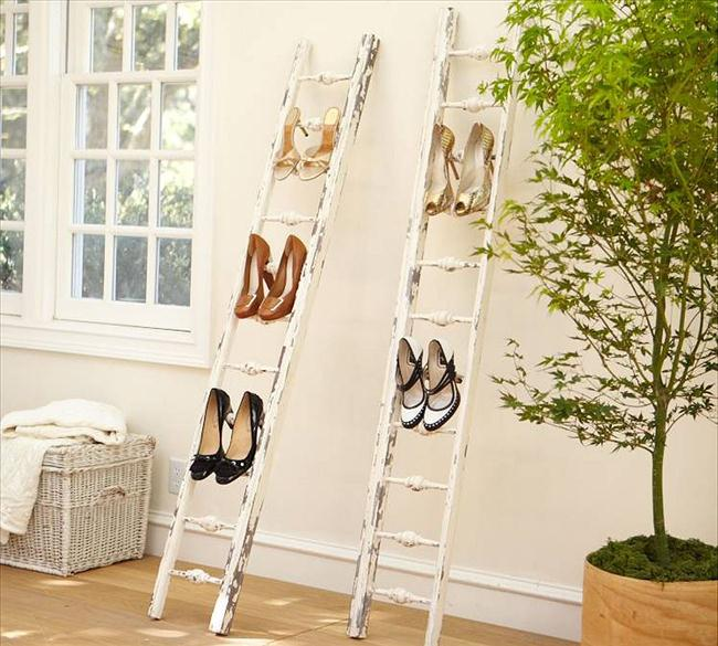 diy-shoe-rack-leaning-ladder-wall-outdoor