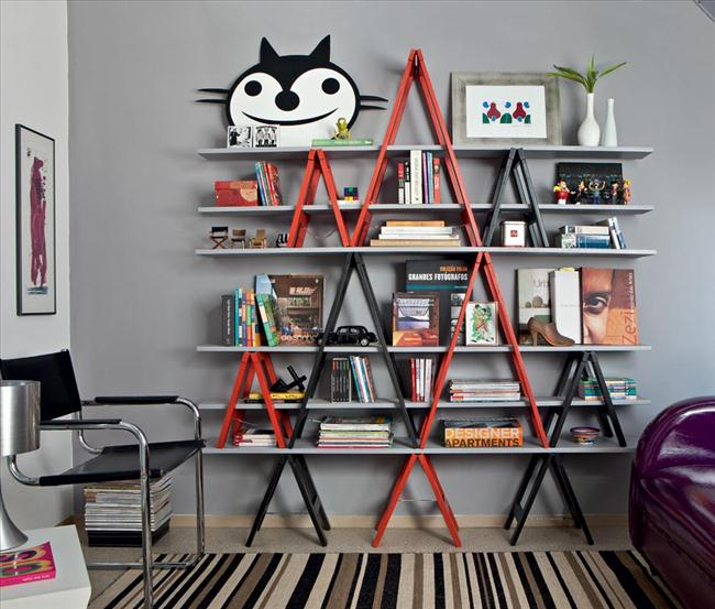 shelving-unit-old-ladders-bookcase-arrangement