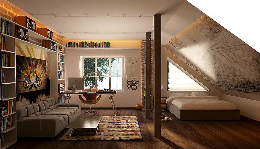 funky-modern-teenage-attic-room-design-ideas