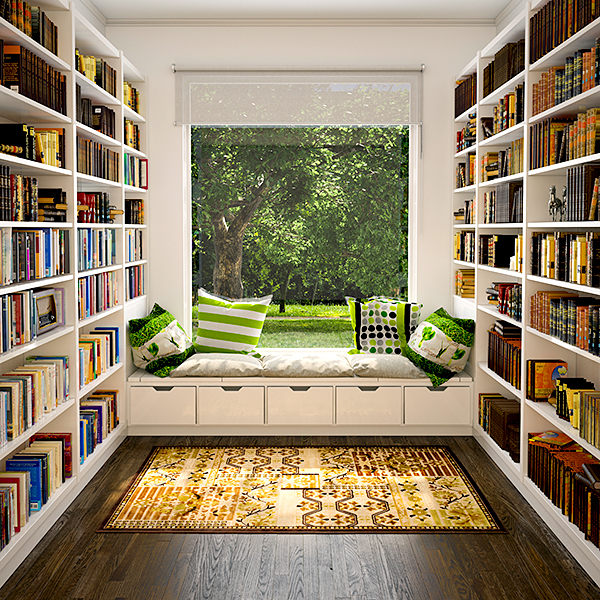 modern-home-libraries-design-with-large-white-wooden-bookcase-tower-and-white-lacquer-benches-be-equipped-grey-padded-seat-cushion-plus-five-drawer-underneath